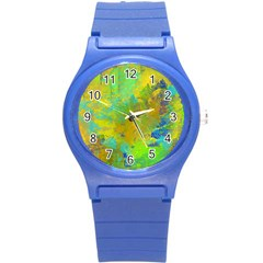Abstract In Blue, Green, Copper, And Gold Round Plastic Sport Watch (s)
