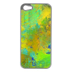 Abstract In Blue, Green, Copper, And Gold Apple Iphone 5 Case (silver)