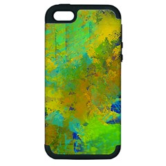 Abstract In Blue, Green, Copper, And Gold Apple Iphone 5 Hardshell Case (pc+silicone)