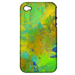 Abstract in Blue, Green, Copper, and Gold Apple iPhone 4/4S Hardshell Case (PC+Silicone)