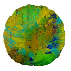 Abstract In Blue, Green, Copper, And Gold Large 18  Premium Round Cushions