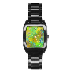 Abstract In Blue, Green, Copper, And Gold Stainless Steel Barrel Watch