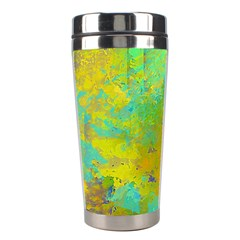 Abstract In Blue, Green, Copper, And Gold Stainless Steel Travel Tumblers