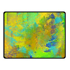 Abstract in Blue, Green, Copper, and Gold Double Sided Fleece Blanket (Small)