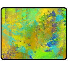 Abstract in Blue, Green, Copper, and Gold Double Sided Fleece Blanket (Medium)