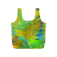 Abstract In Blue, Green, Copper, And Gold Full Print Recycle Bags (s)