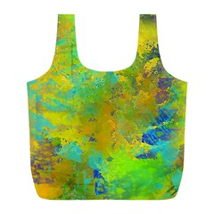 Abstract in Blue, Green, Copper, and Gold Full Print Recycle Bags (L)