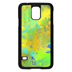 Abstract In Blue, Green, Copper, And Gold Samsung Galaxy S5 Case (black)