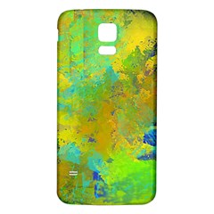 Abstract in Blue, Green, Copper, and Gold Samsung Galaxy S5 Back Case (White)