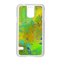 Abstract in Blue, Green, Copper, and Gold Samsung Galaxy S5 Case (White)
