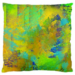 Abstract in Blue, Green, Copper, and Gold Large Flano Cushion Cases (One Side)