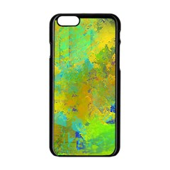 Abstract in Blue, Green, Copper, and Gold Apple iPhone 6 Black Enamel Case