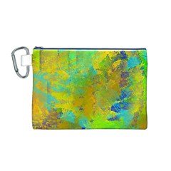Abstract In Blue, Green, Copper, And Gold Canvas Cosmetic Bag (m)