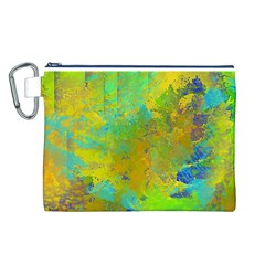 Abstract in Blue, Green, Copper, and Gold Canvas Cosmetic Bag (L)