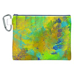 Abstract in Blue, Green, Copper, and Gold Canvas Cosmetic Bag (XXL)
