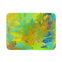 Abstract in Blue, Green, Copper, and Gold Double Sided Flano Blanket (Mini)