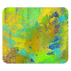 Abstract in Blue, Green, Copper, and Gold Double Sided Flano Blanket (Small)