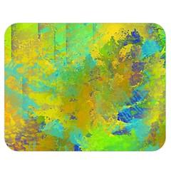 Abstract In Blue, Green, Copper, And Gold Double Sided Flano Blanket (medium)