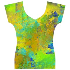Abstract in Blue, Green, Copper, and Gold Women s V-Neck Cap Sleeve Top