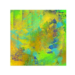Abstract in Blue, Green, Copper, and Gold Small Satin Scarf (Square)