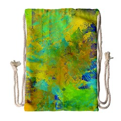Abstract in Blue, Green, Copper, and Gold Drawstring Bag (Large)