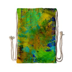 Abstract in Blue, Green, Copper, and Gold Drawstring Bag (Small)
