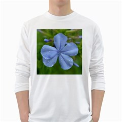 Blue Water Droplets White Long Sleeve T Shirts