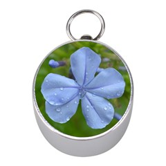 Blue Water Droplets Mini Silver Compasses