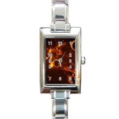 Fire And Flames In The Universe Rectangle Italian Charm Watches