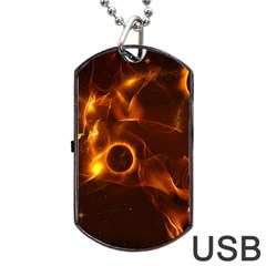 Fire And Flames In The Universe Dog Tag USB Flash (One Side)