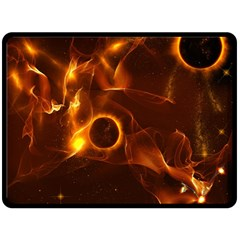 Fire And Flames In The Universe Double Sided Fleece Blanket (large)