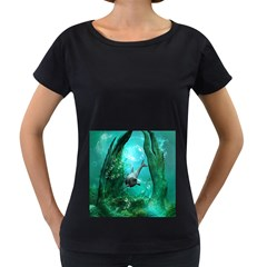 Wonderful Dolphin Women s Loose Fit T Shirt (black)