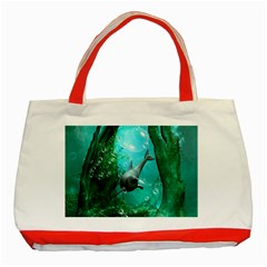 Wonderful Dolphin Classic Tote Bag (red)