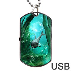 Wonderful Dolphin Dog Tag USB Flash (One Side)