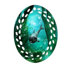 Wonderful Dolphin Oval Filigree Ornament (2-Side)