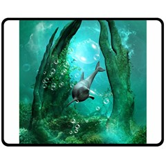 Wonderful Dolphin Double Sided Fleece Blanket (Medium)
