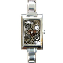 Steampunk With Heart Rectangle Italian Charm Watches