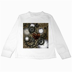 Steampunk With Heart Kids Long Sleeve T Shirts