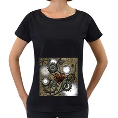 Steampunk With Heart Women s Loose Fit T Shirt (black)