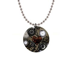 Steampunk With Heart Button Necklaces