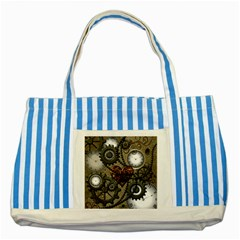 Steampunk With Heart Striped Blue Tote Bag