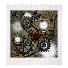 Steampunk With Heart Shower Curtain 66  x 72  (Large)