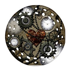 Steampunk With Heart Round Filigree Ornament (2side)