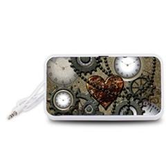 Steampunk With Heart Portable Speaker (White)