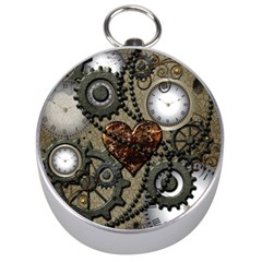 Steampunk With Heart Silver Compasses
