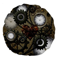Steampunk With Heart Large 18  Premium Flano Round Cushions