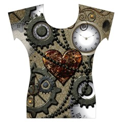 Steampunk With Heart Women s Cap Sleeve Top