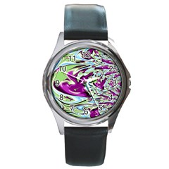 Purple, Green, and Blue Abstract Round Metal Watches
