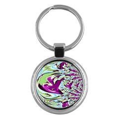 Purple, Green, and Blue Abstract Key Chains (Round)