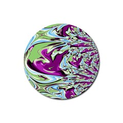 Purple, Green, and Blue Abstract Rubber Coaster (Round)